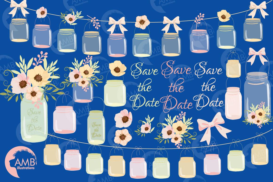 Mason Jar Wedding clipart, graphics, illustrations AMB-1031 example image 2