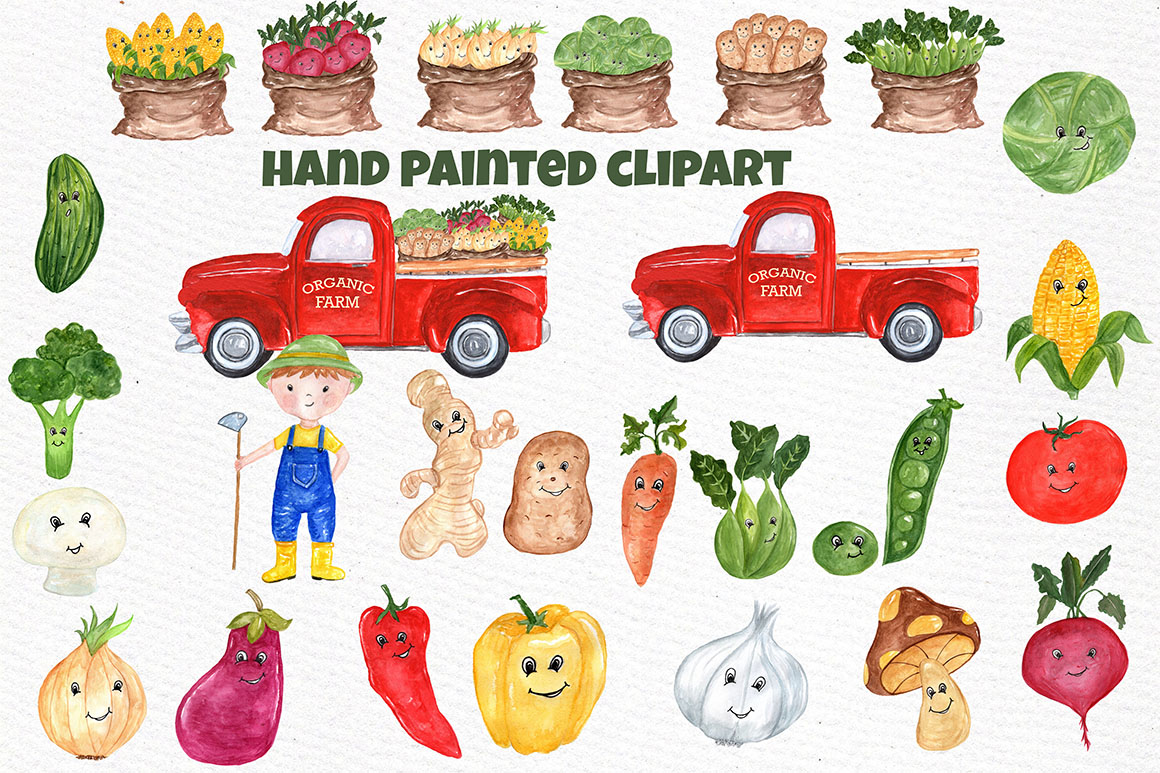 Watercolor Vegetables clipart example image 2