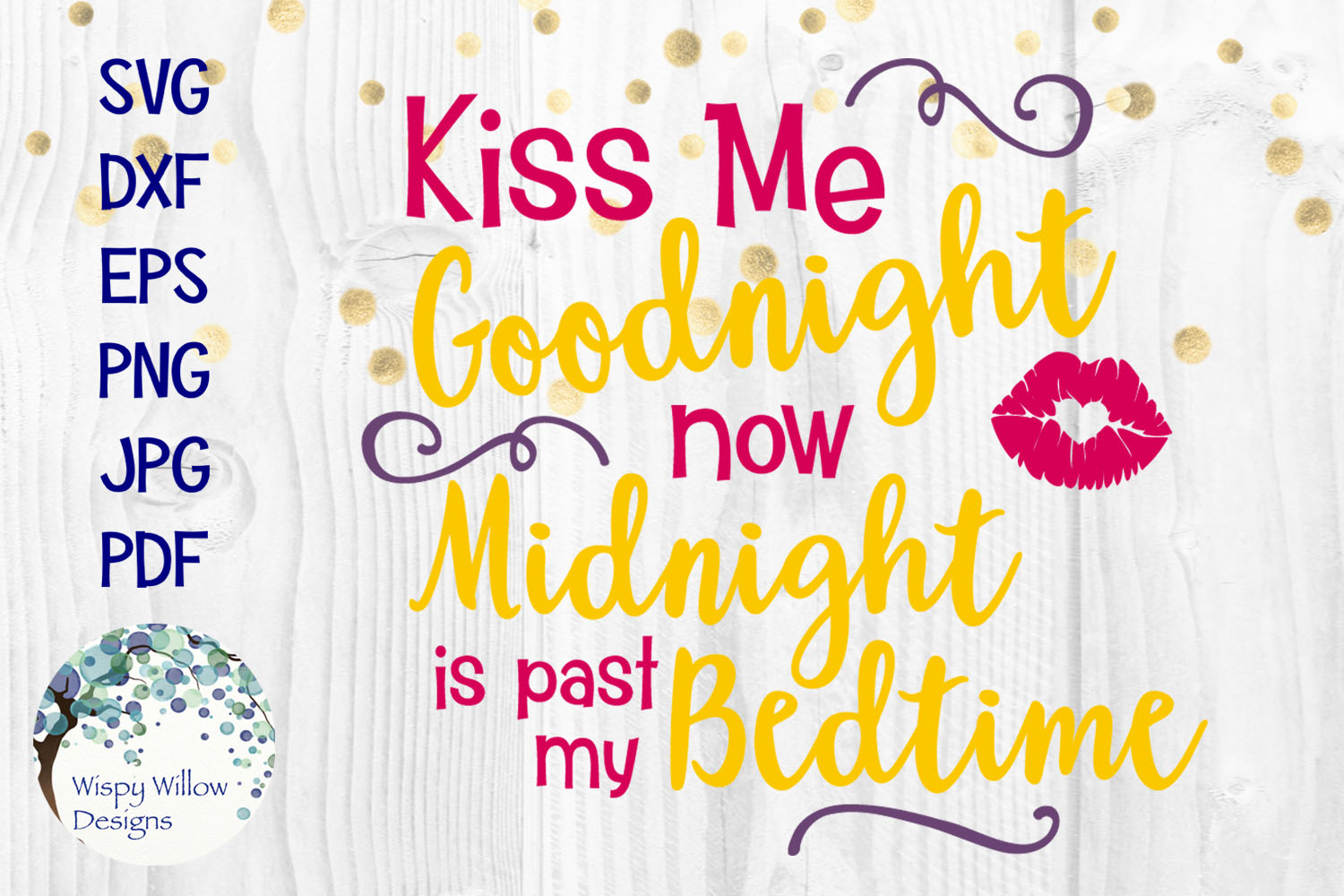 New Year's Eve SVG Cut File Bundle | Kiss Me at Midnight SVG example image 3