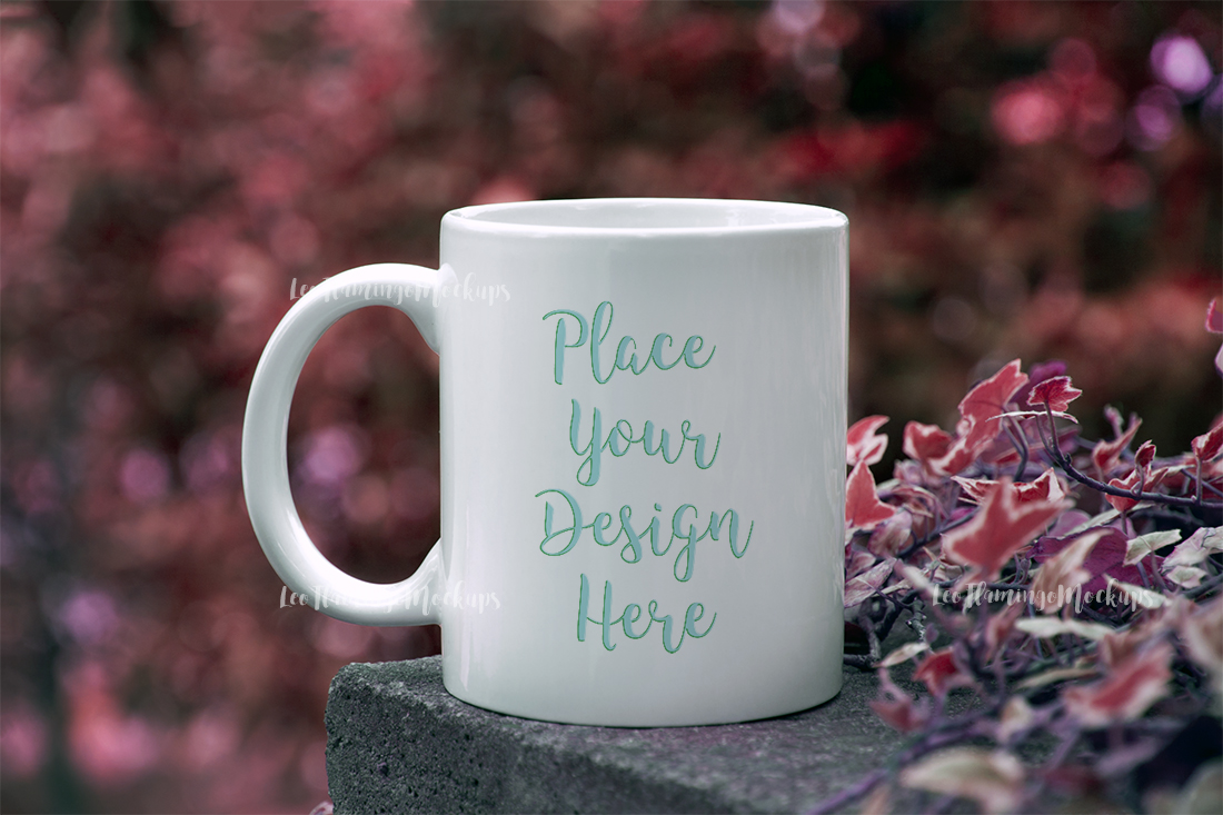 White coffee mug mockup autumn bokeh example image 1