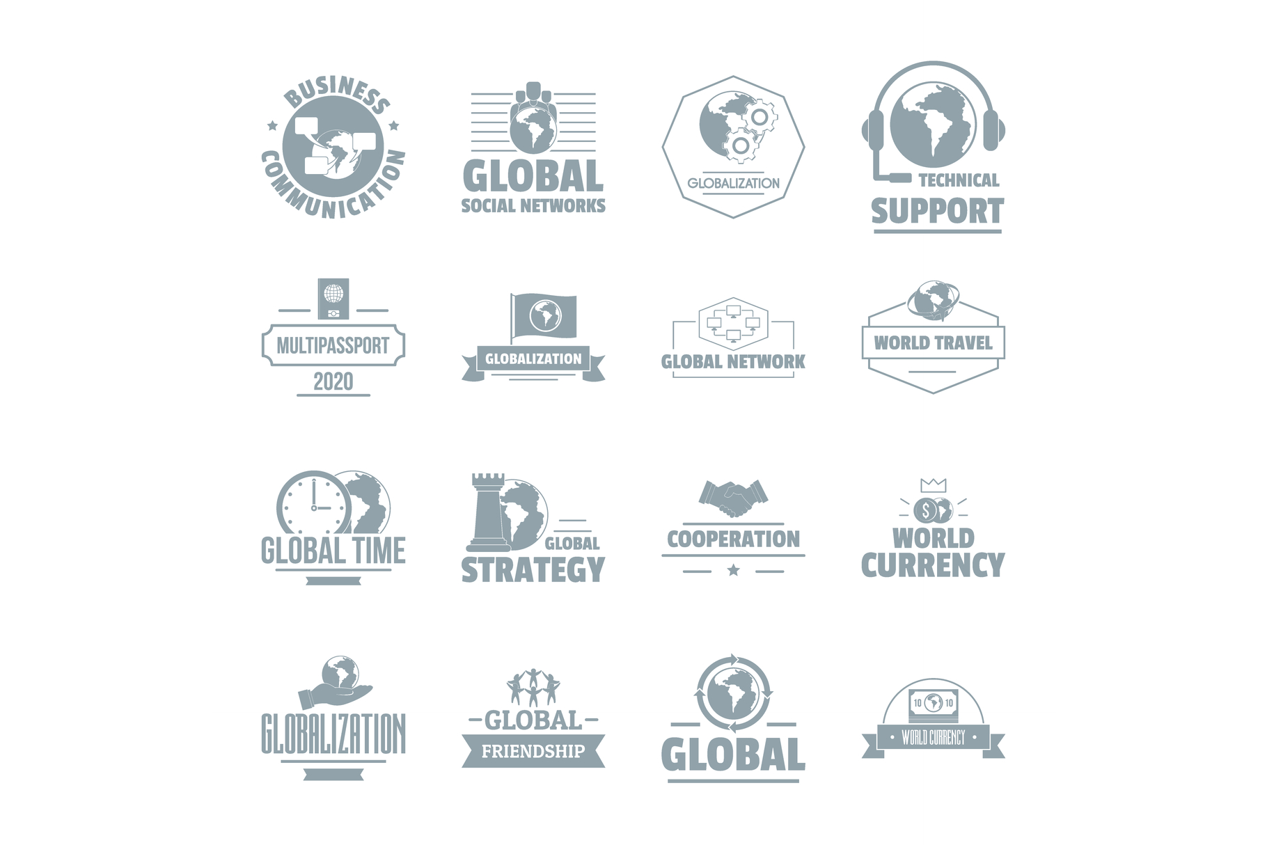 Global business logo icons set, simple style example image 1