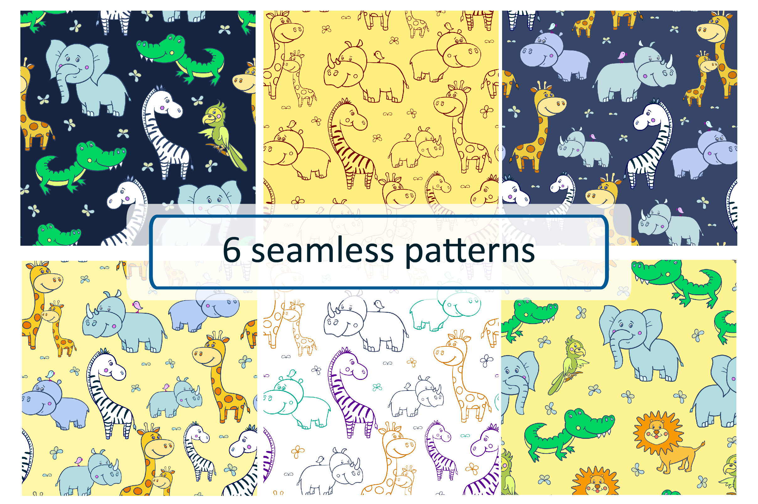 African animals. Seamless patterns. example image 1