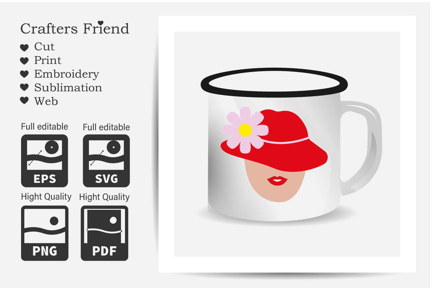 Women with Red Hat - Cut File for Crafter example image 2