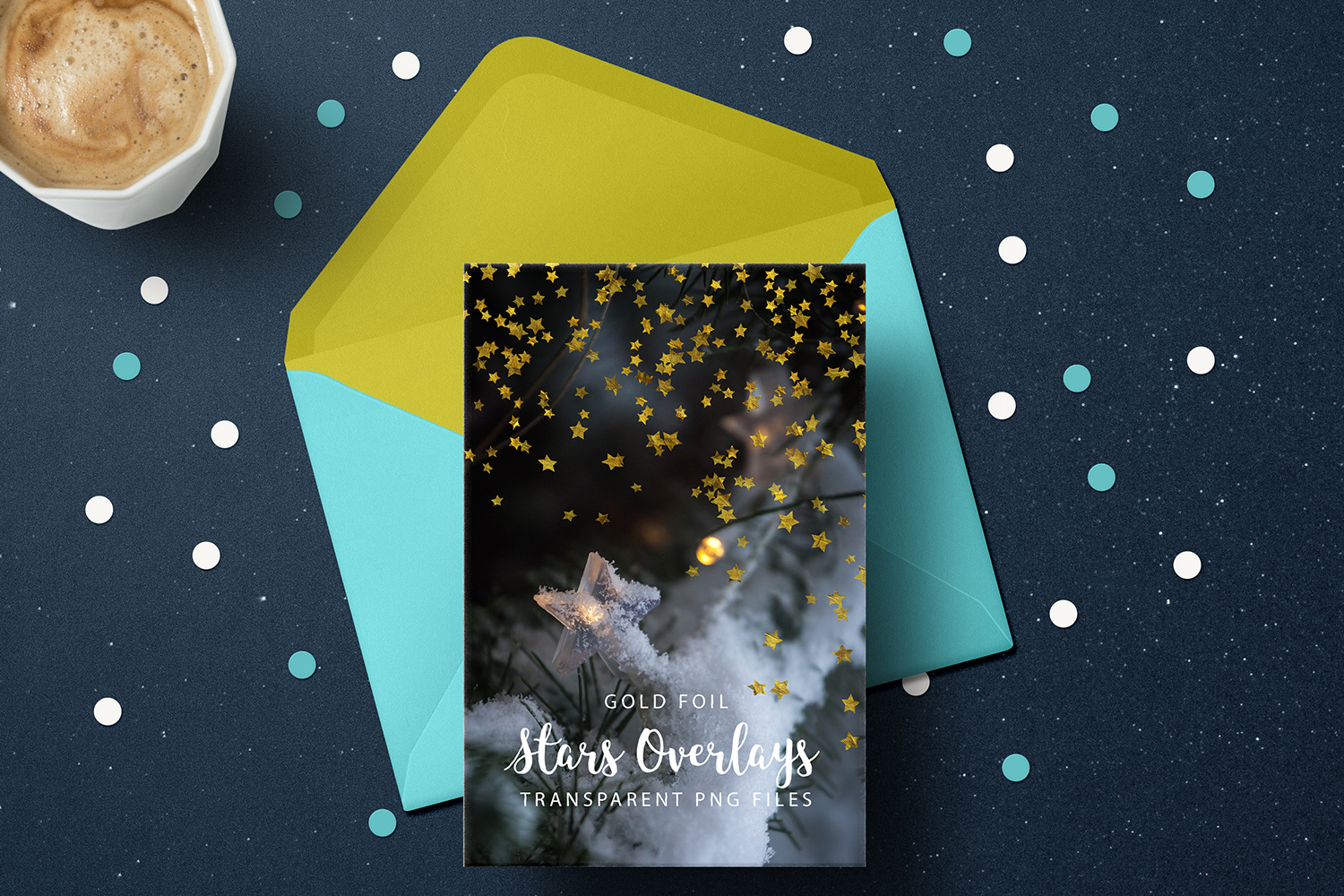 Gold Foil Stars Overlays, Gold Stars Confetti example image 5