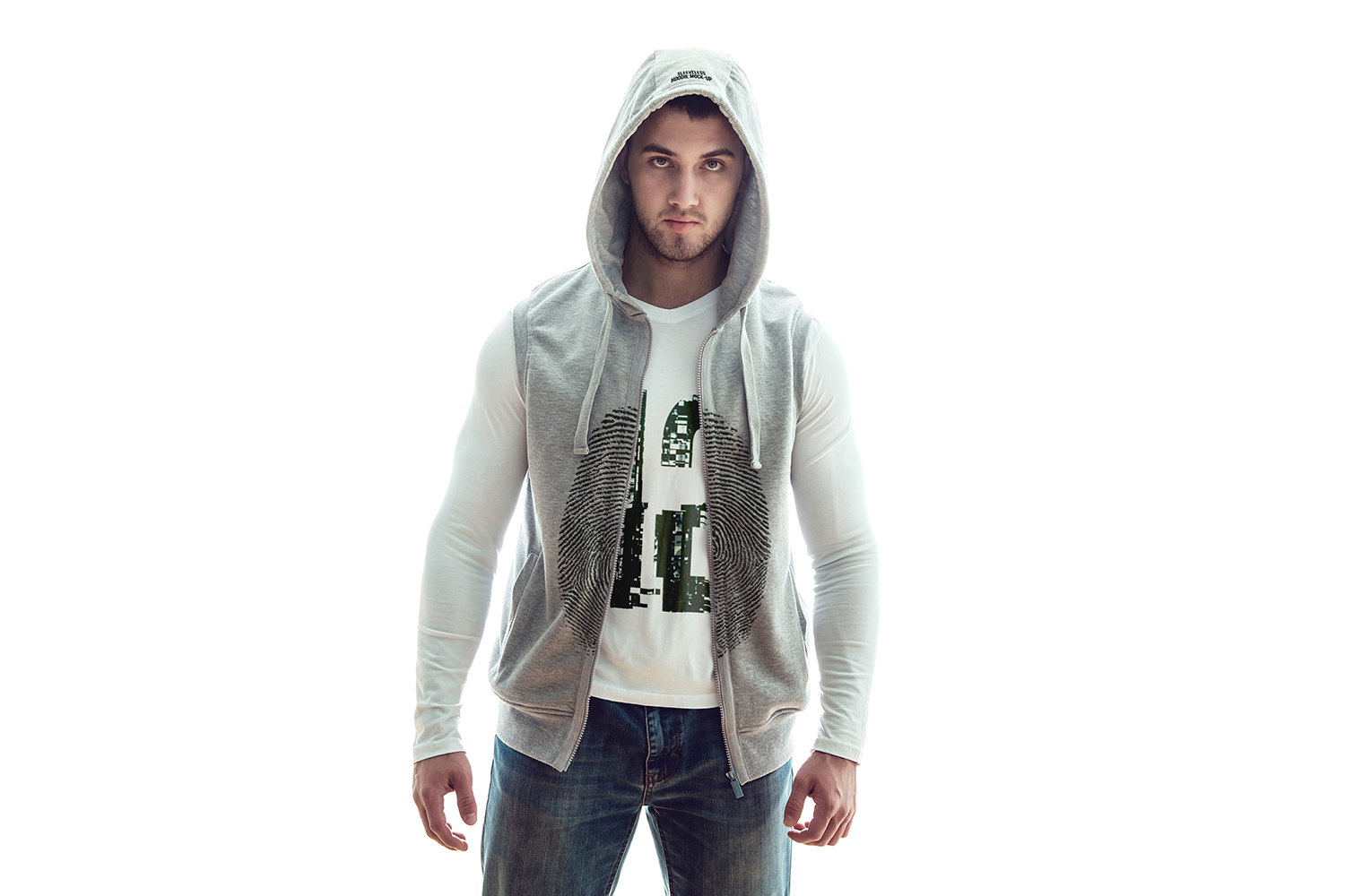 Sleeveless Hoodie Mock-Up example image 5