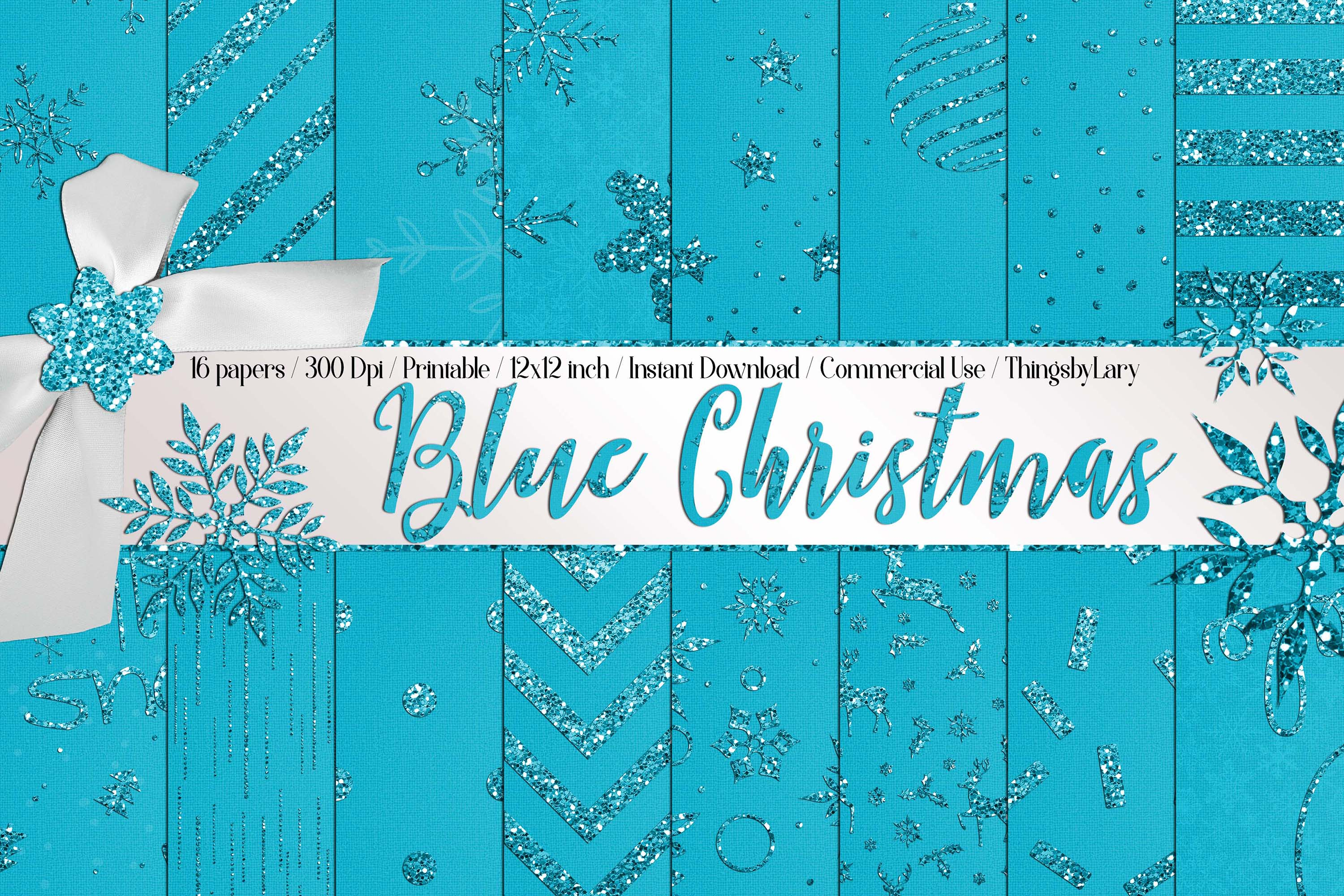 16 Blue Glitter Christmas Printable Digital Papers 12 inch example image 1