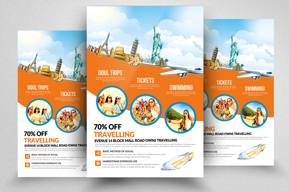 10 Tour Travel Agency Flyer Template Bundle example image 4