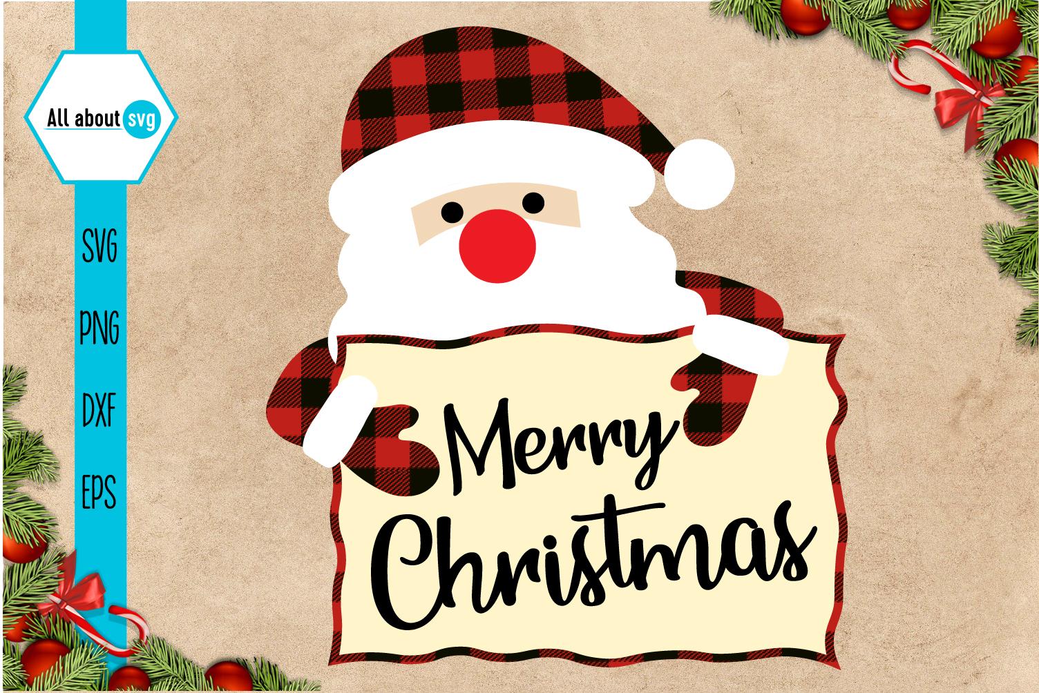 Merry Christmas Svg, Santa Claus Buffalo Plaid Svg example image 1