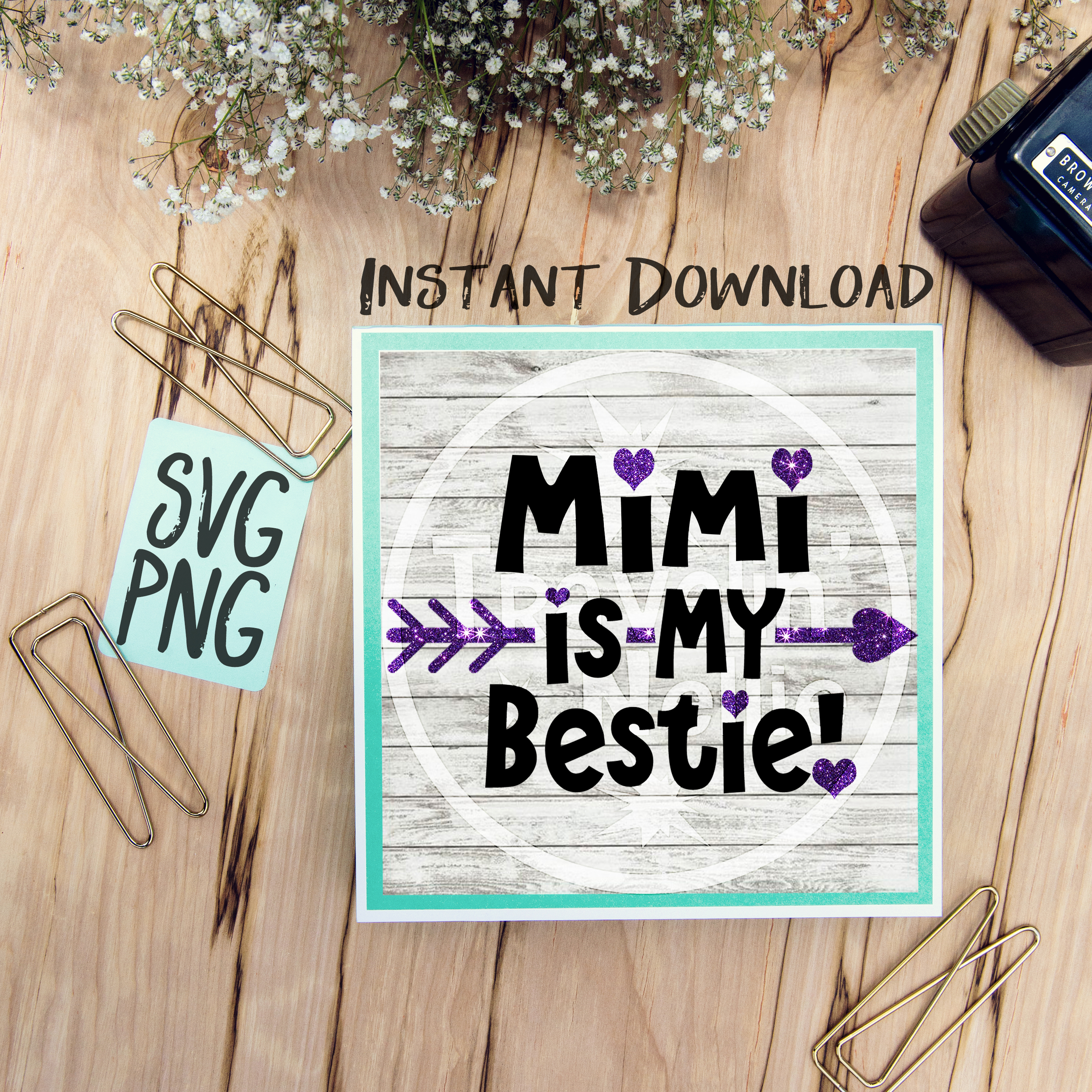 Mimi Is My Bestie SVG PNG Image Design for Cut Machines Print DIY Design Brother Cricut Cameo Cutout  example image 1