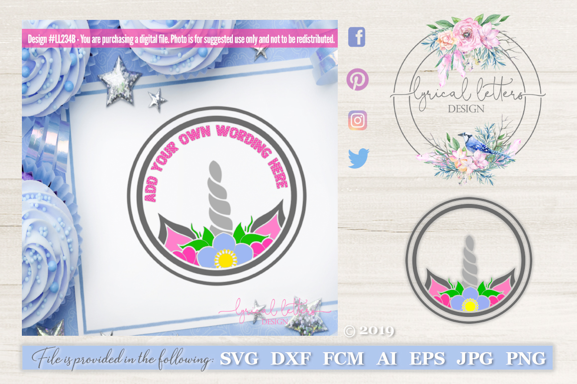 Unicorn Frame with flowers SVG DXF LL234B example image 1