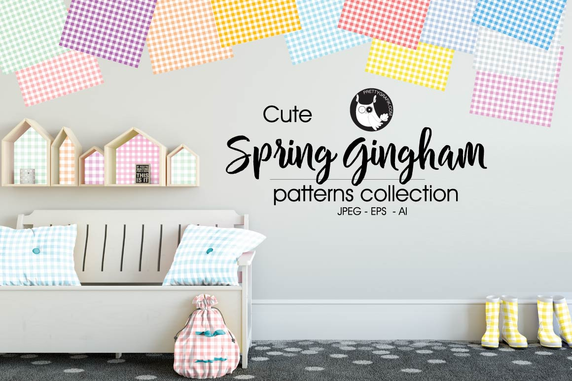spring-gingham, digital papers example image 1