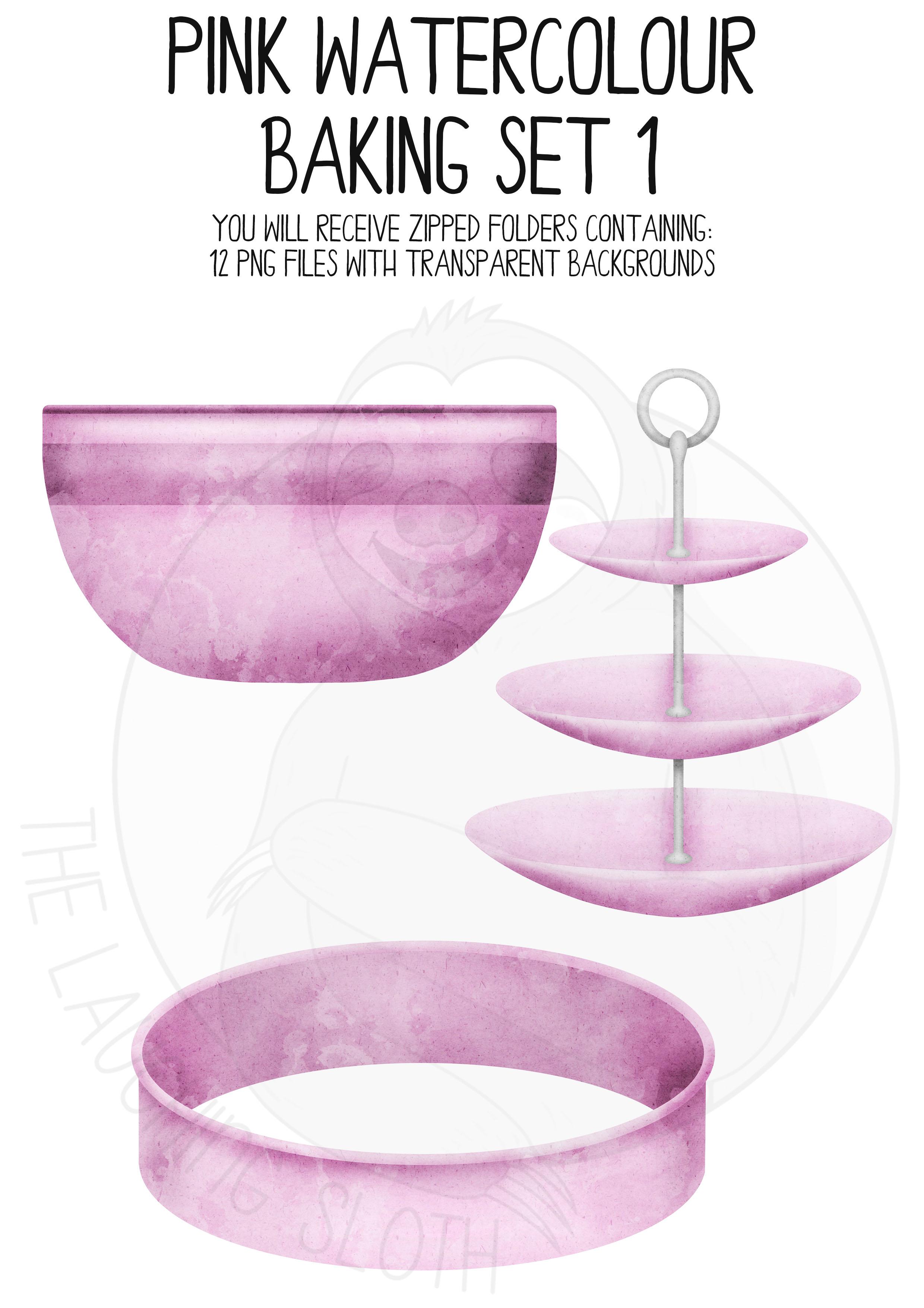 Pink Watercolor Baking Clip Art Set example image 2