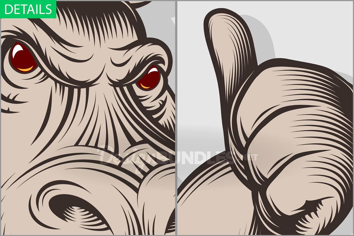 Hippopotamus Beer Glass Craft Thumb Emblem Engraved Ink example image 2