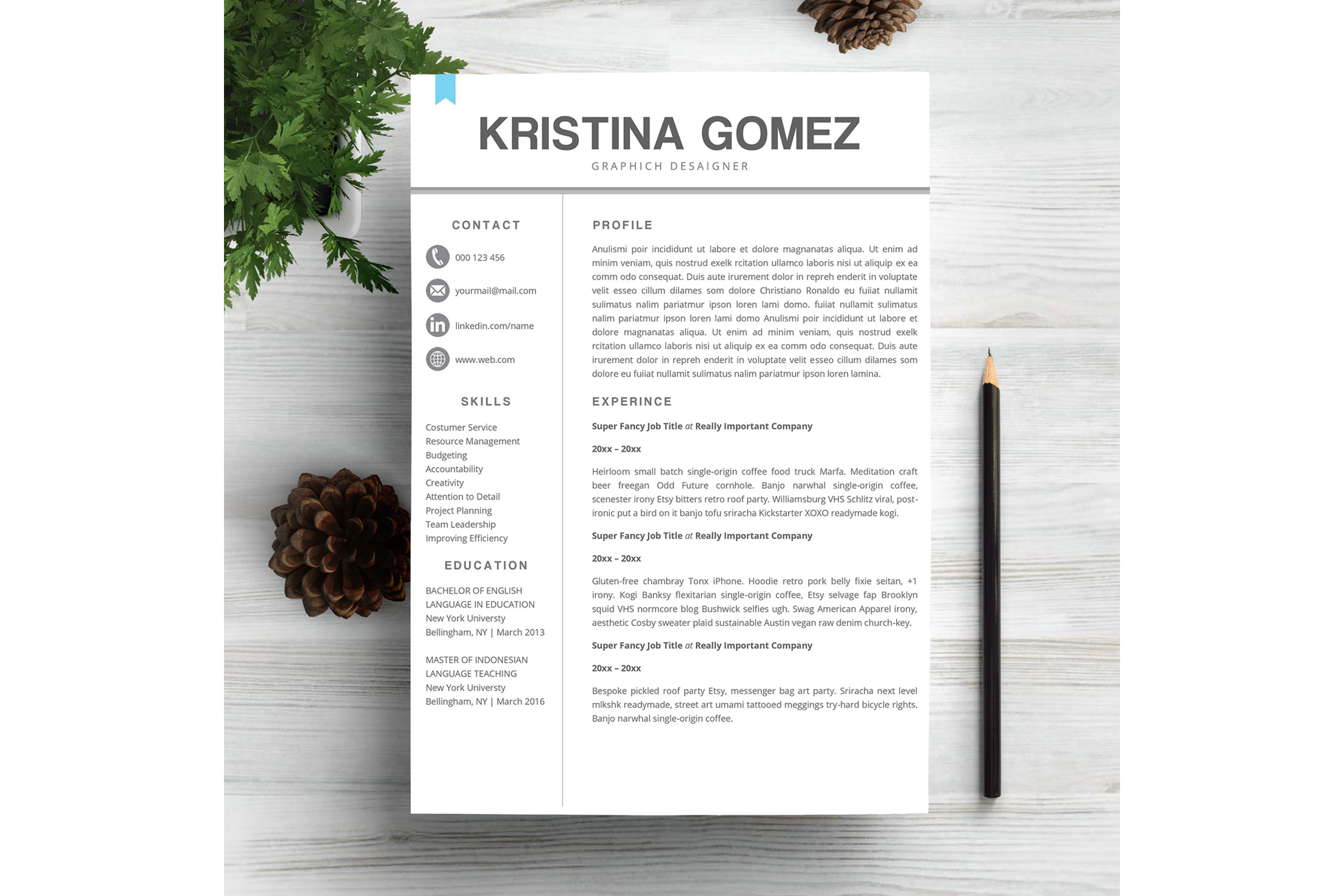 Feminime Resume Template example image 1