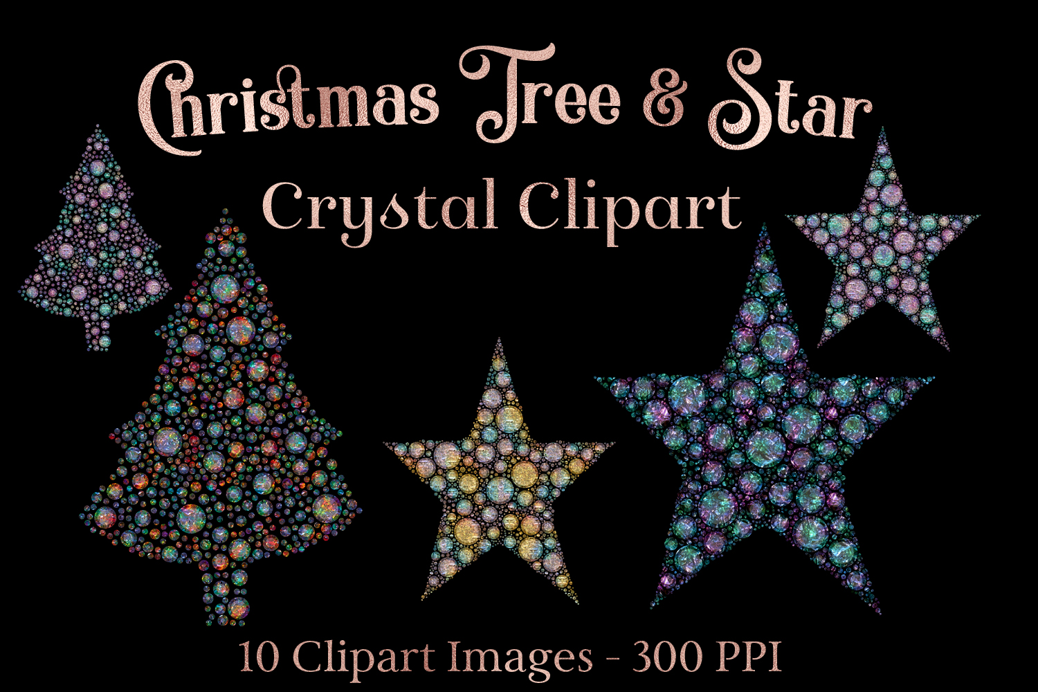 Christmas Tree and Star Crystal Clipart example image 1