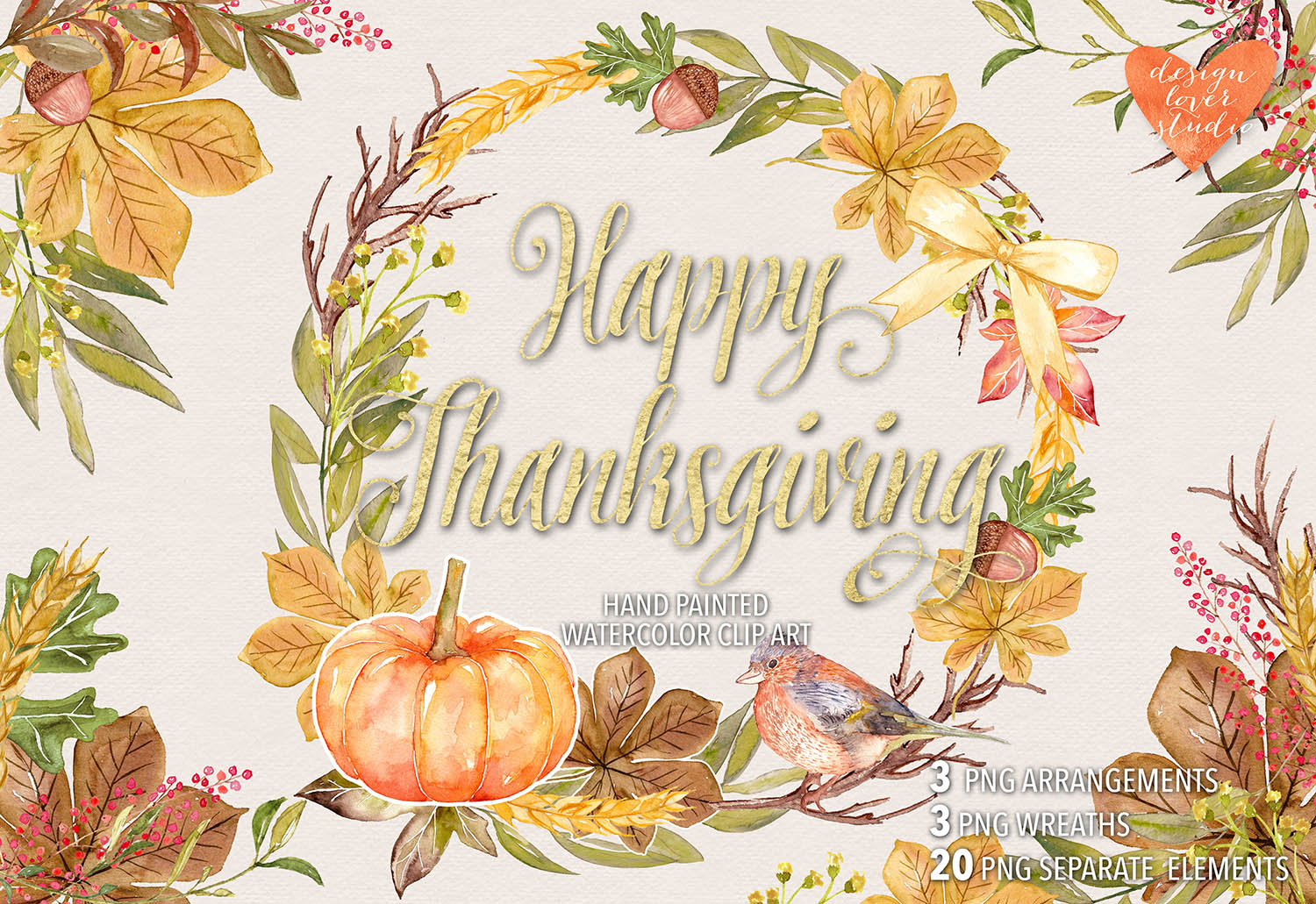 Watercolor Happy Thanksgiving cliparts example image 2