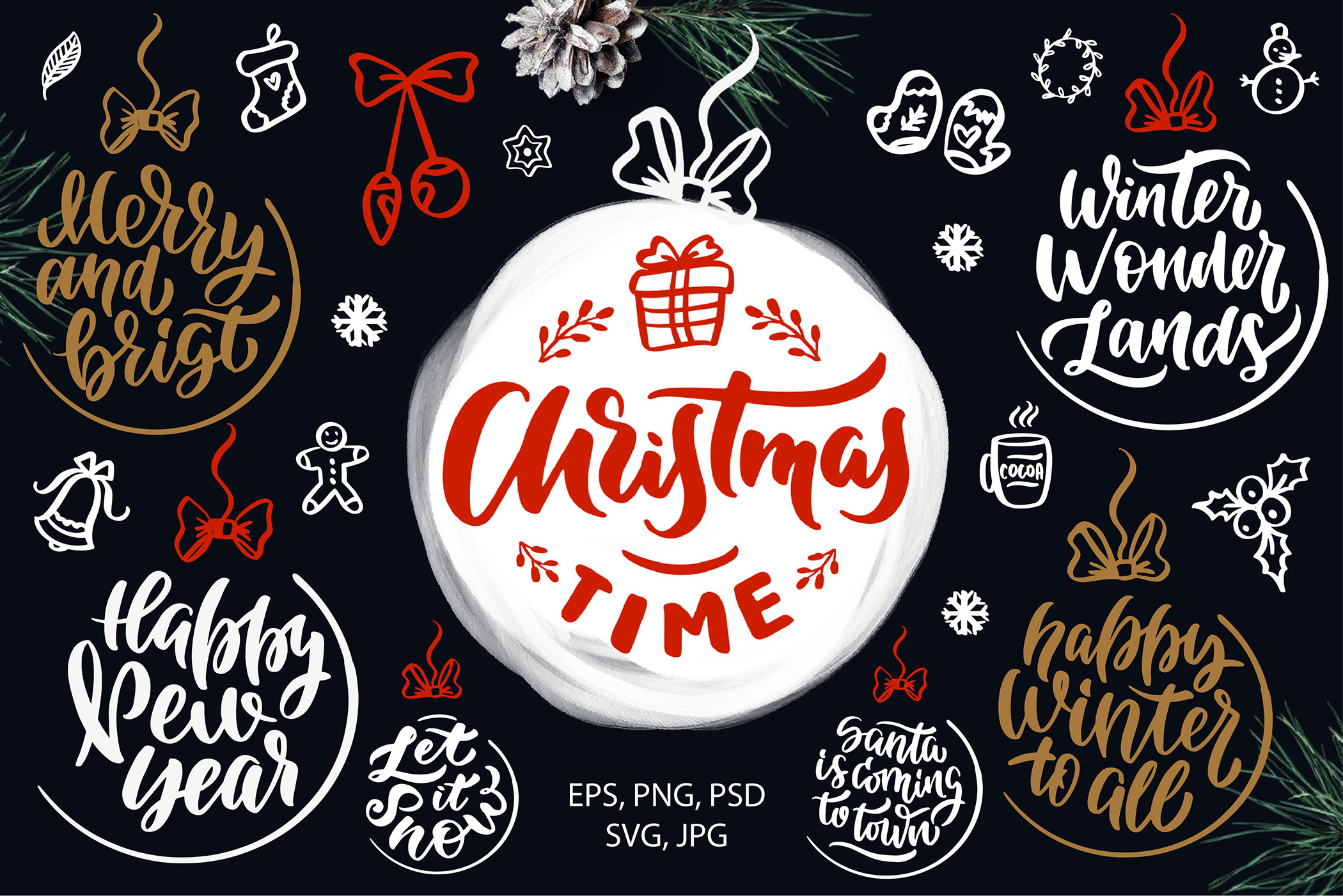 Christmas time lettering pack example image 4