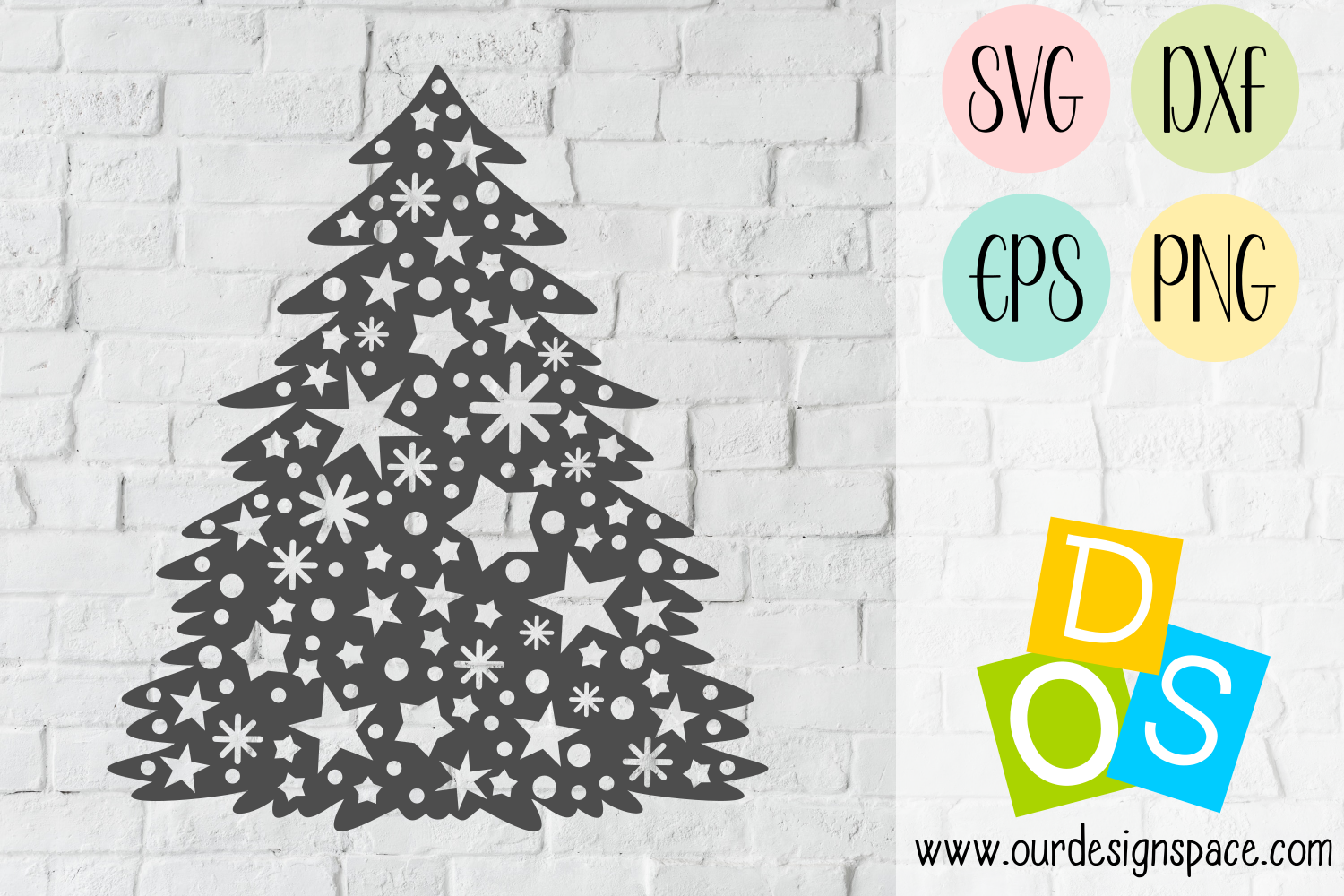 Stary Tree SVG, DXF, EPS and PNG craft files example image 1