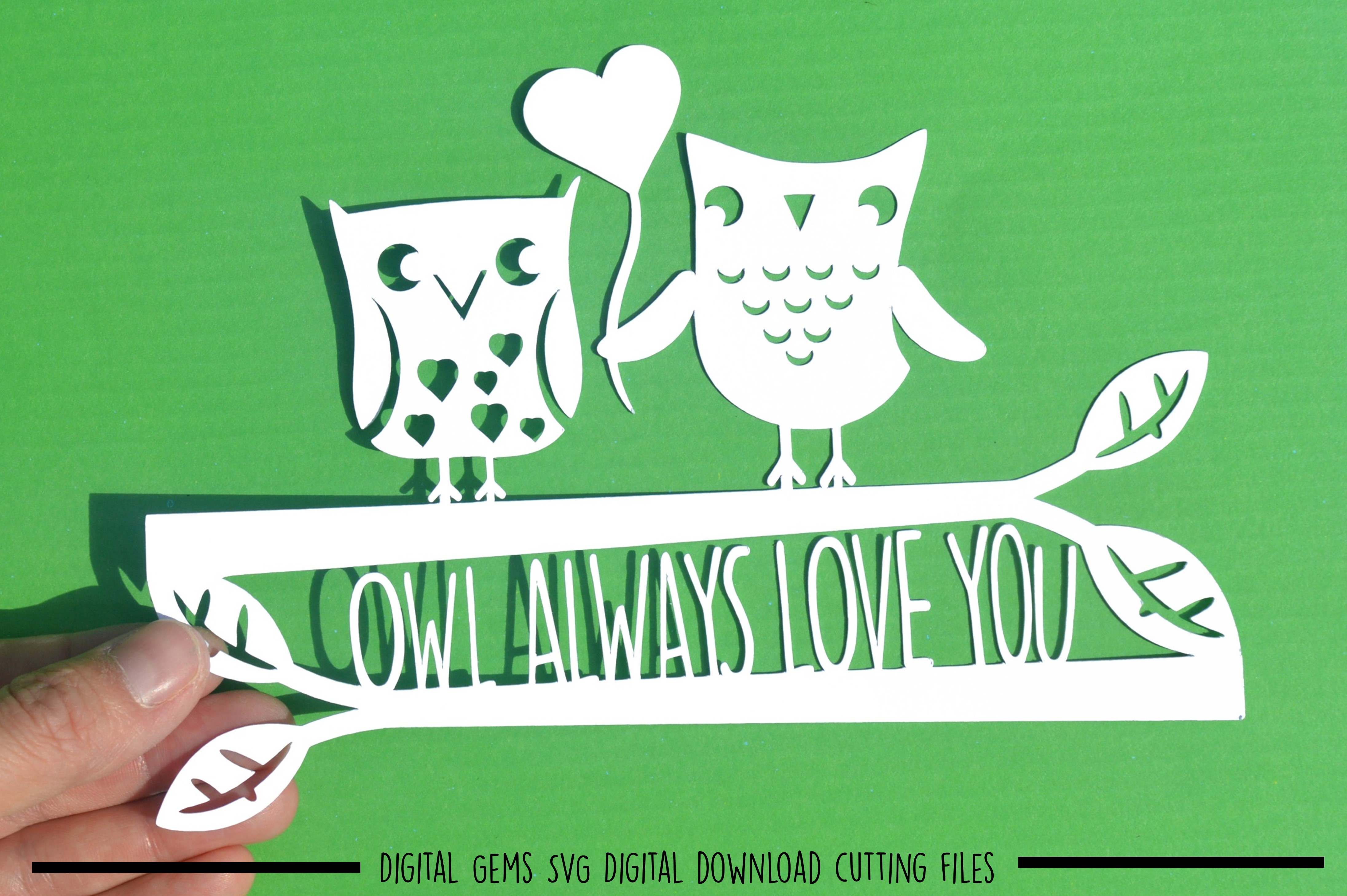 Owl always love you paper cut SVG  DXF  EPS files example image 1