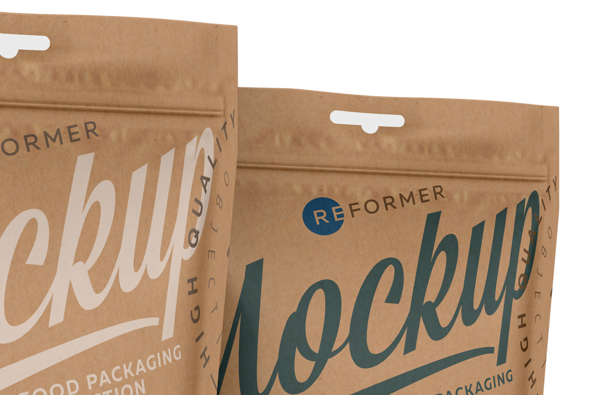 Three Kraft Paper Stand-Up Pouch Mockup example image 5