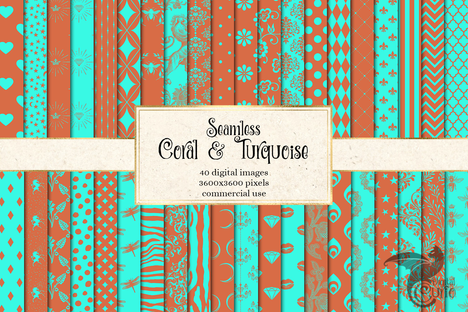 Coral and Turquoise Patterns Digital Paper example image 1