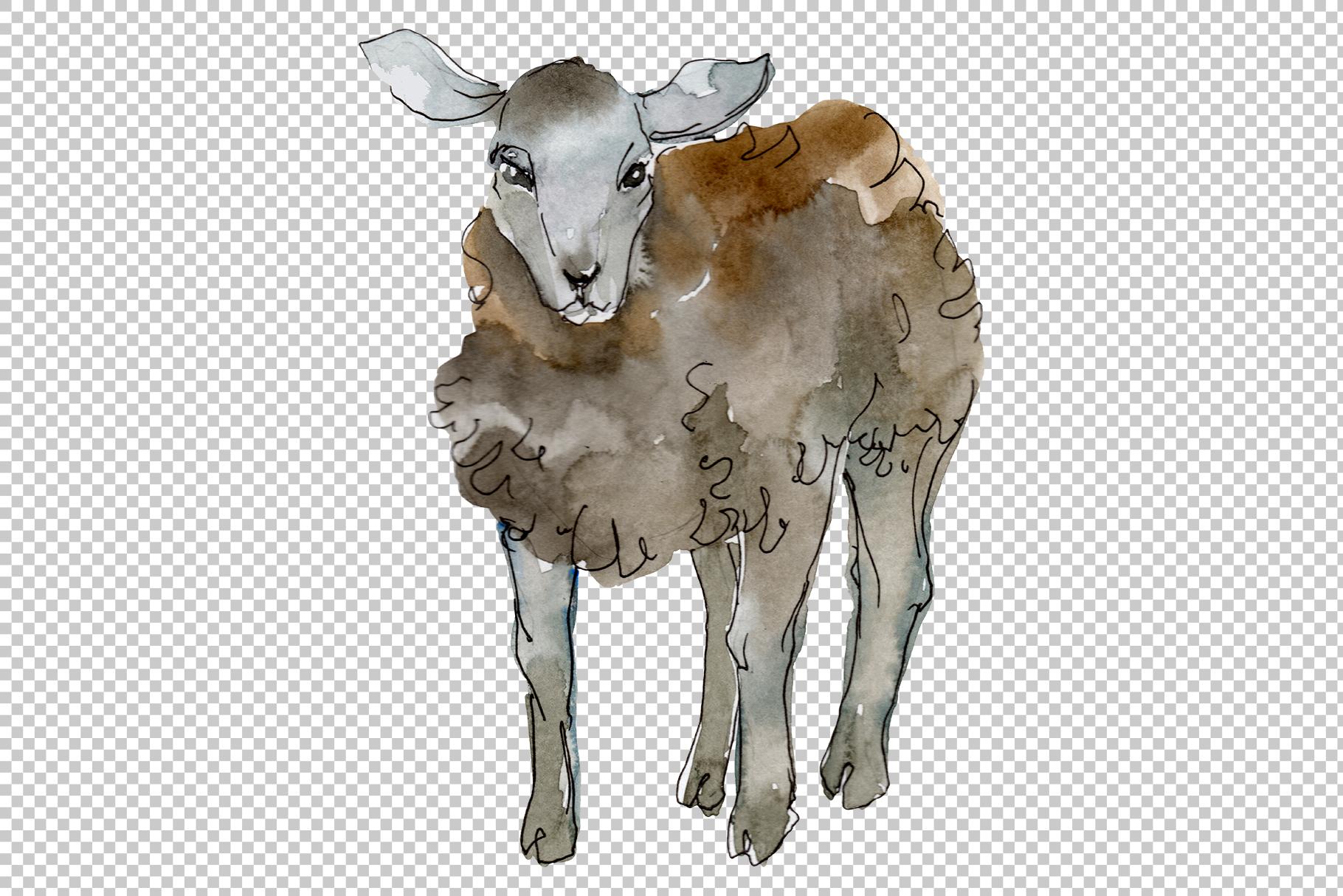 Farm animals lamb Watercolor png example image 4