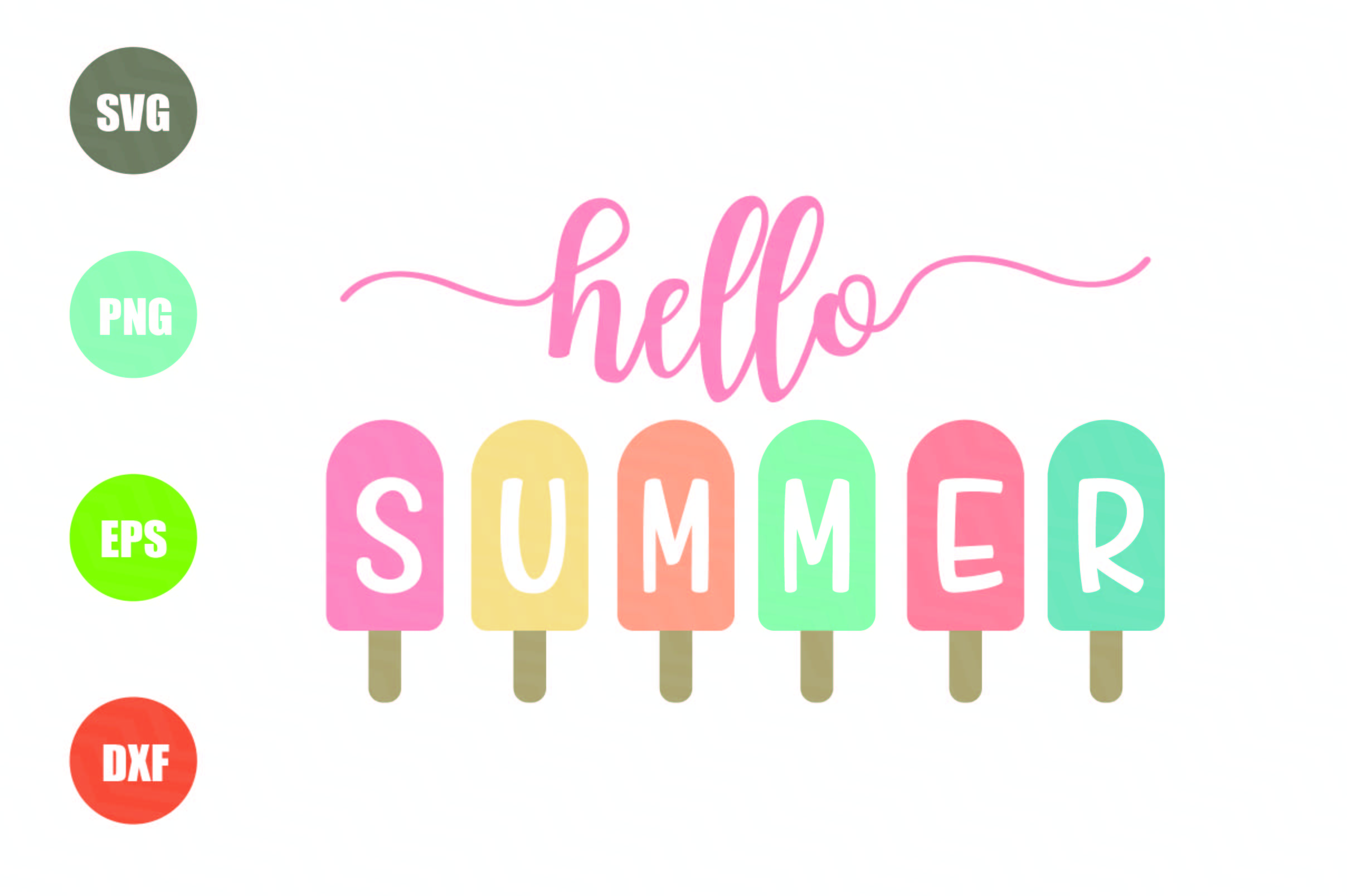 Hello Summer Popsicle SVG example image 1