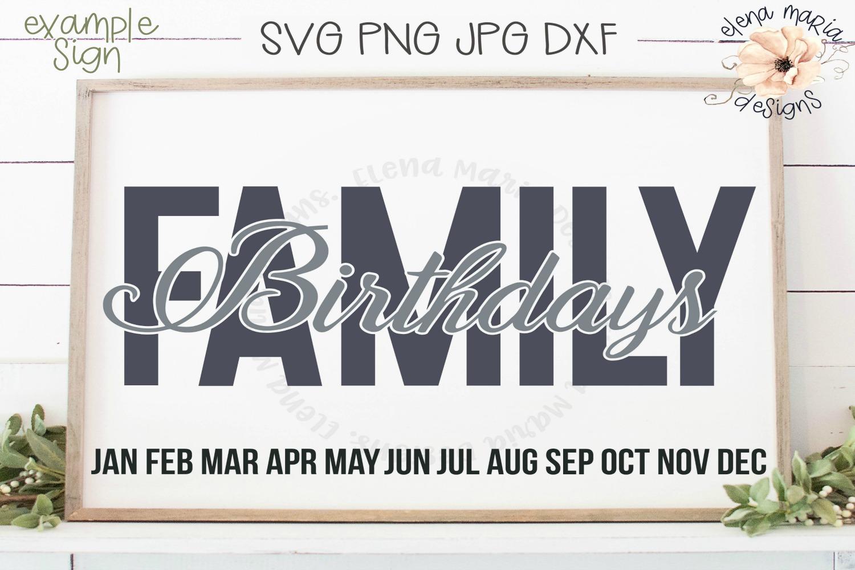 Family Birthday Calendar Diy Sign Svg Family Board Svg