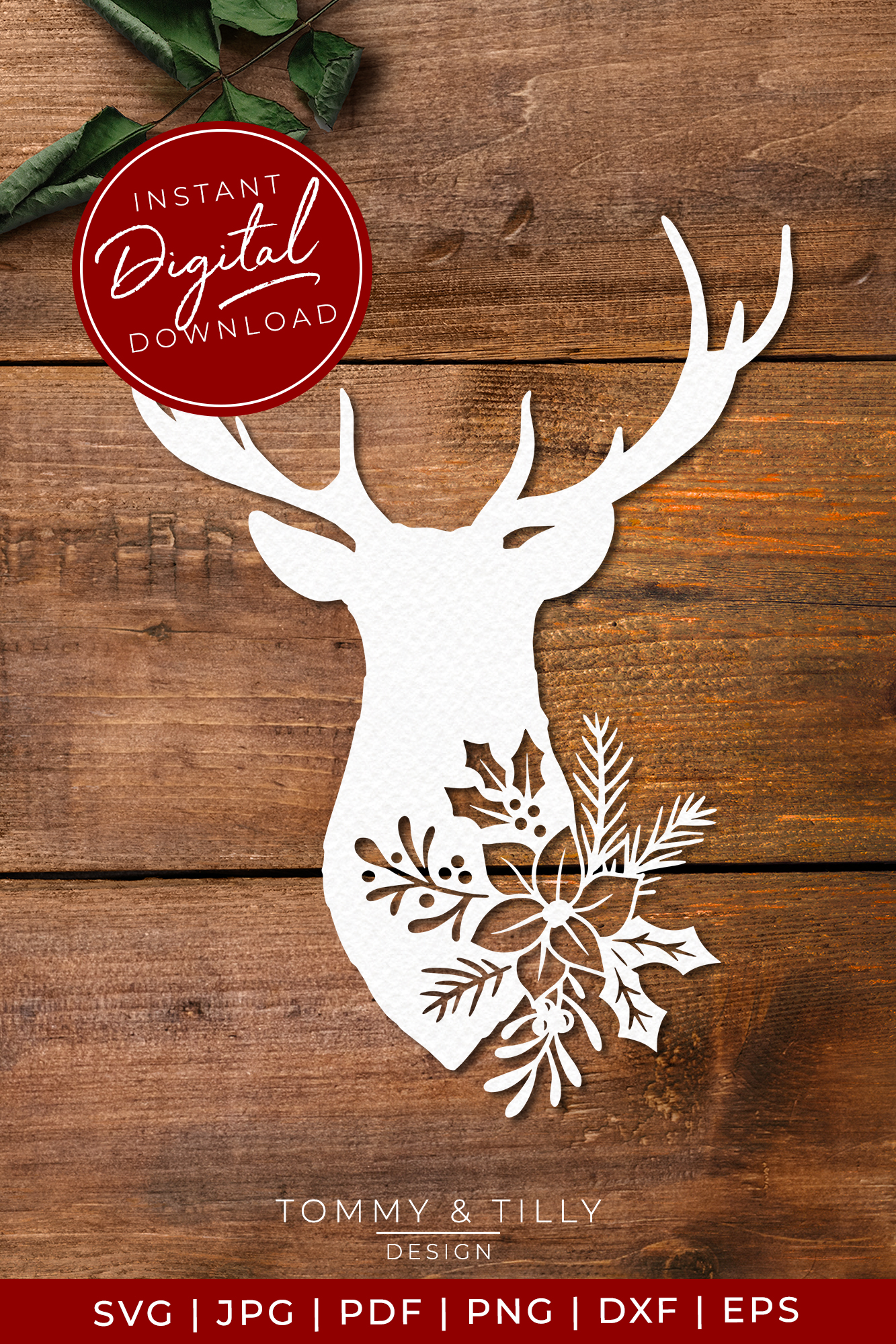 Stag Head No.1 - SVG EPS DXF PNG PDF JPG Cut File example image 8