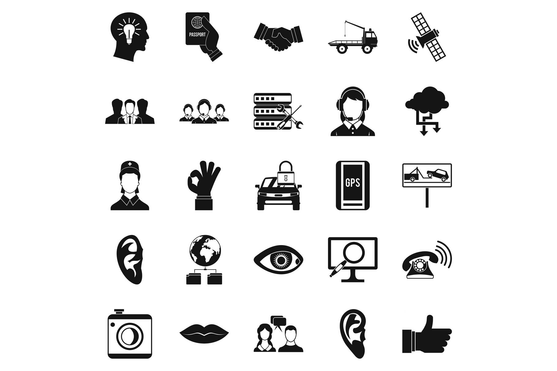 Earphones icons set, simple style example image 1