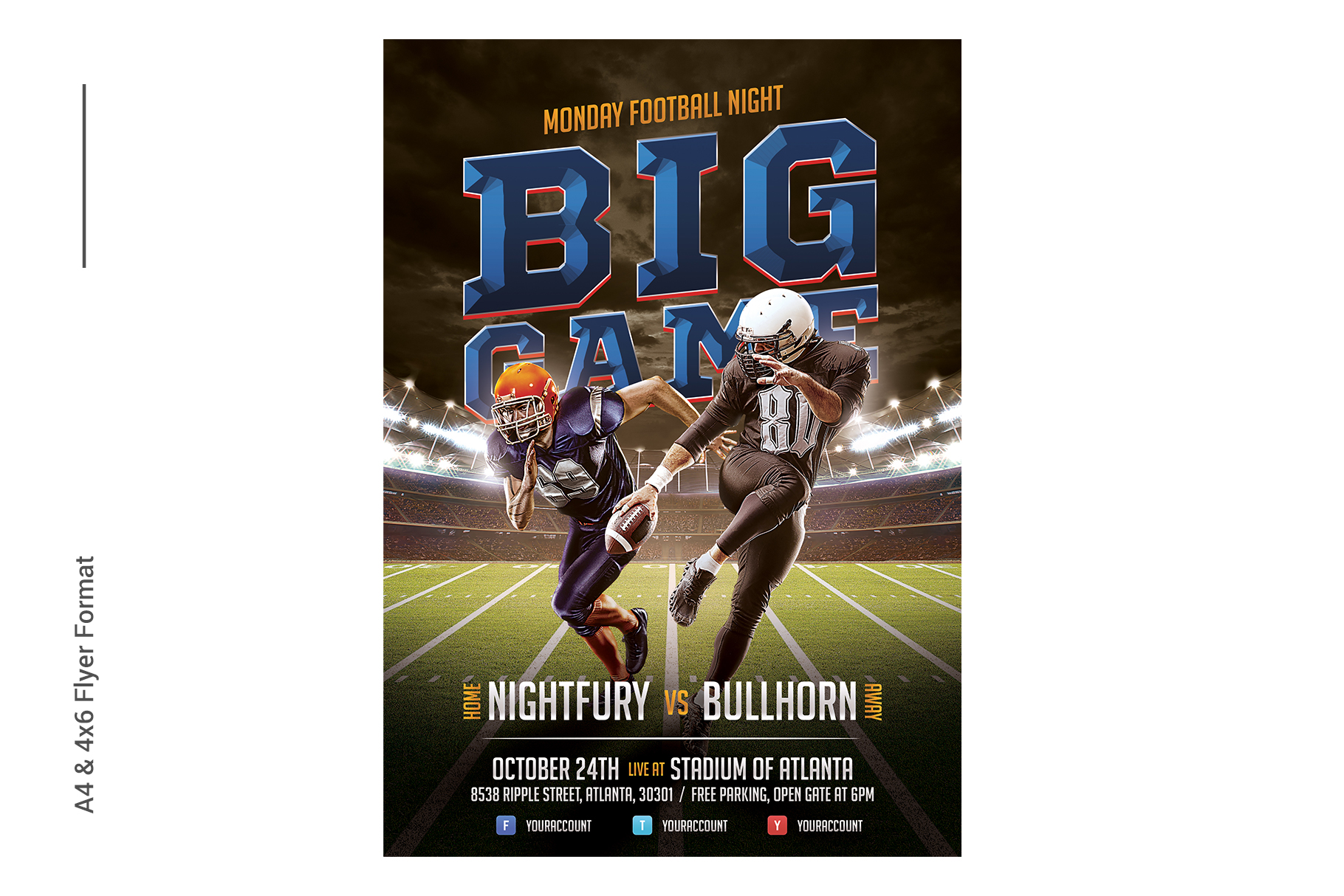 American Football Flyer Template example image 2