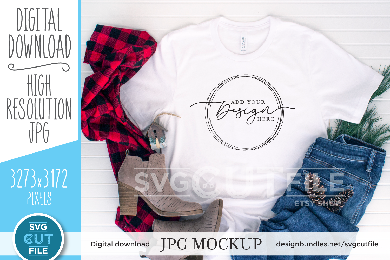 Mockup Bella Canvas 3001, white Christmas Shirt, winter mock example image 1