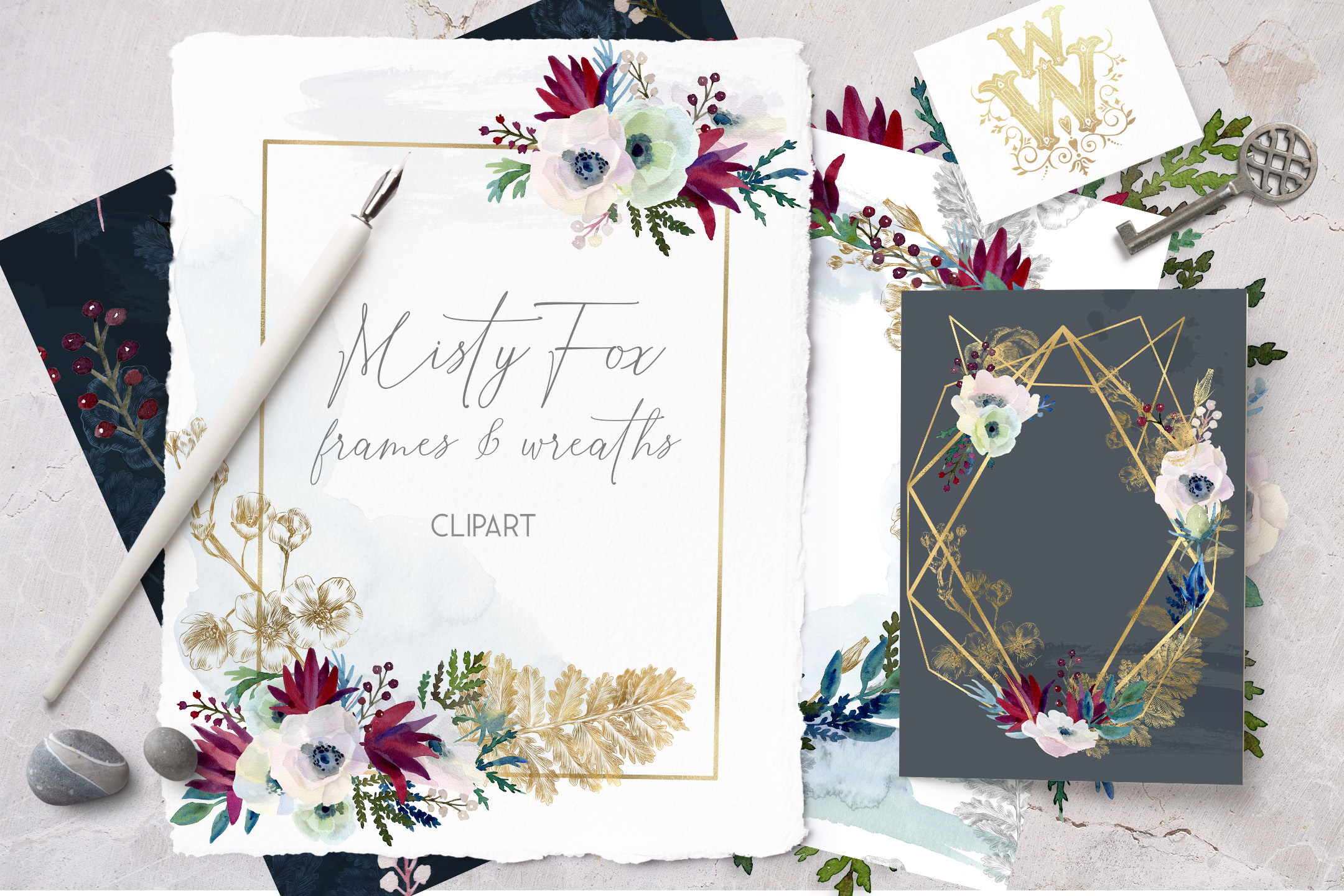 Watercolor white flowers frame, wedding wreath invitation example image 1