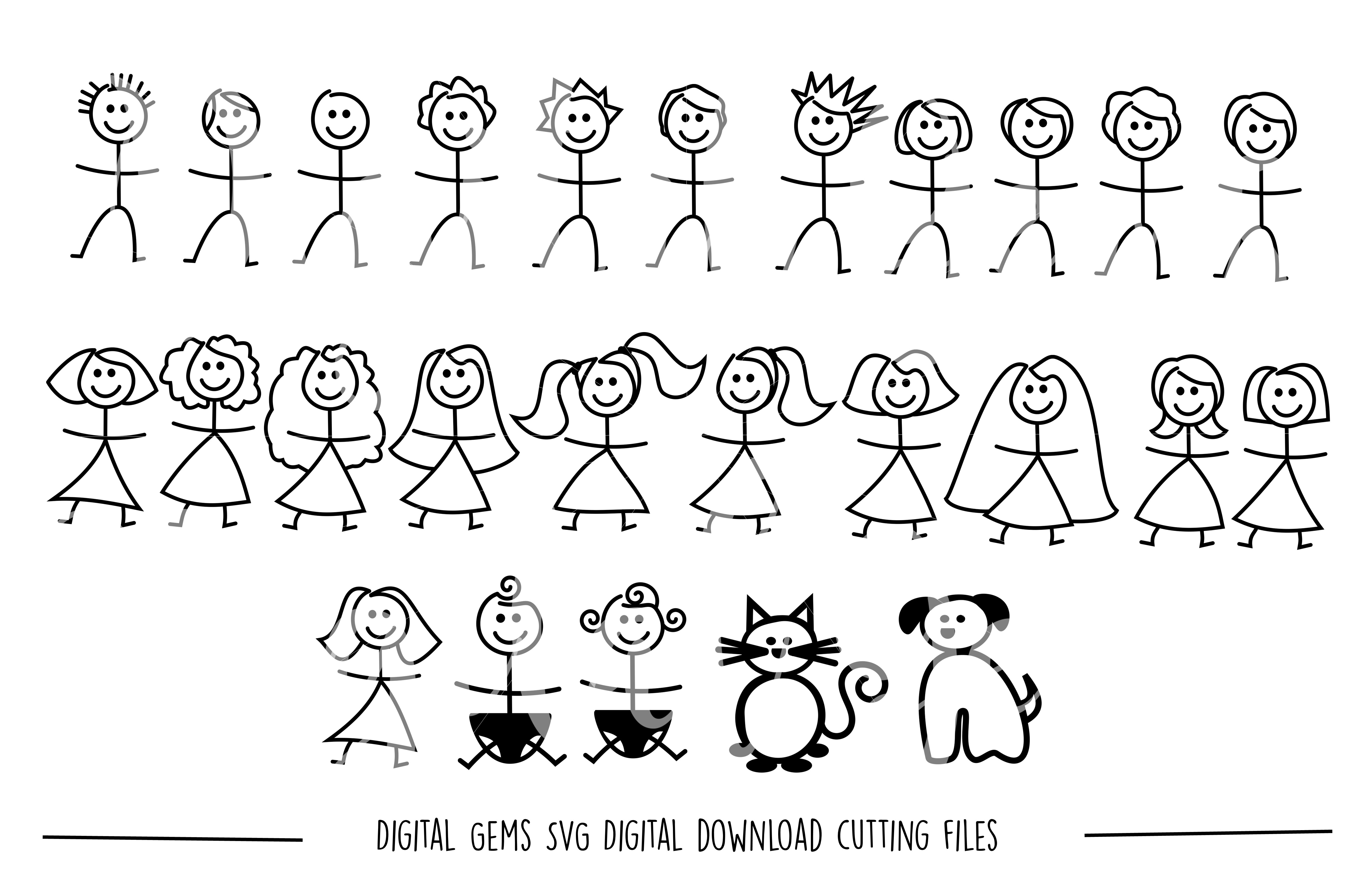 Stick figure people SVG / DXF / EPS / PNG files example image 1