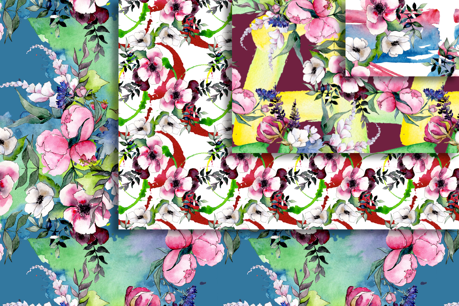 Bouquet of flowers pink Miss Piggy watercolor png example image 4