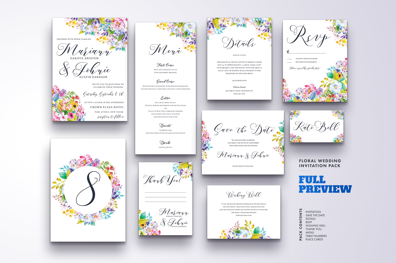 Floral Wedding Invitation Bundle example image 14