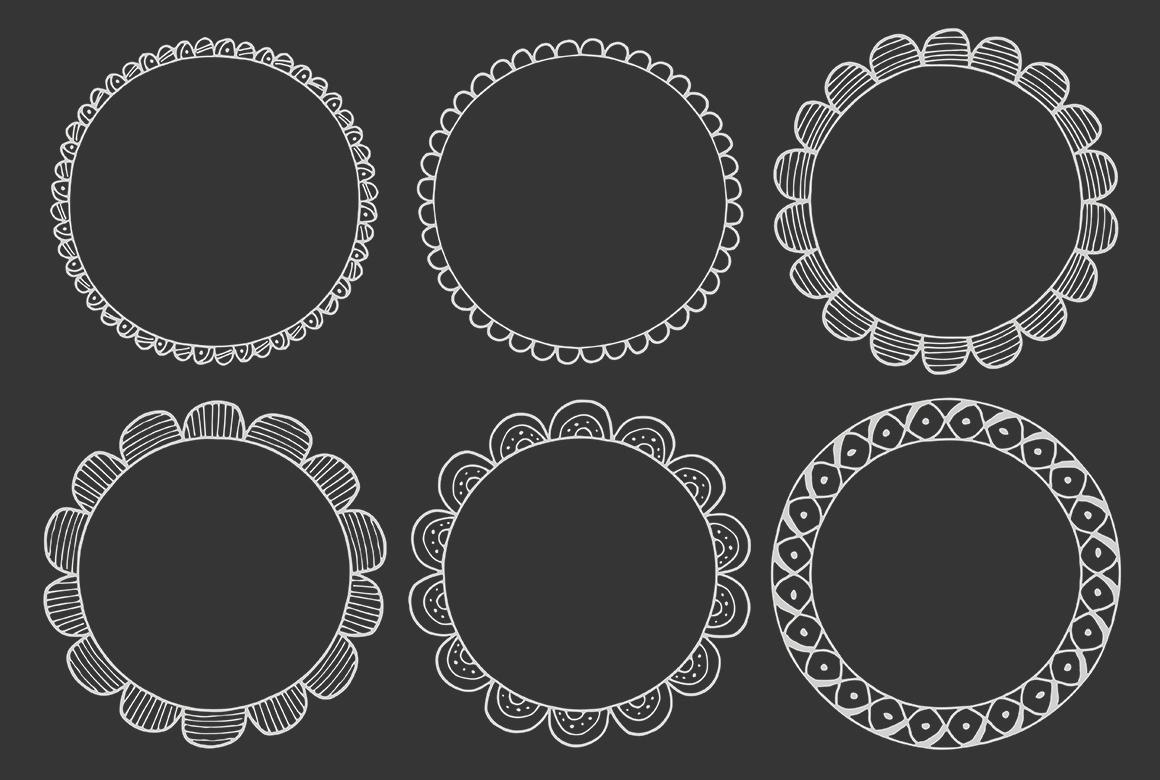 90 Hand Drawn Decorative Round Frames example image 7