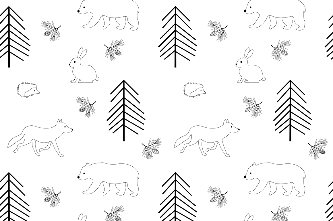 Set of illustrations Animals forest graphics vector example image 7