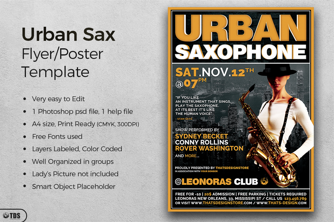 Urban Sax Flyer Template example image 2