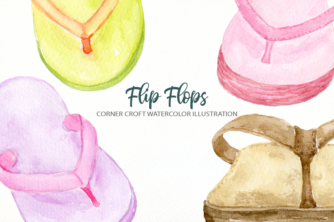 Watercolor flip flops clipart for instant download example image 8