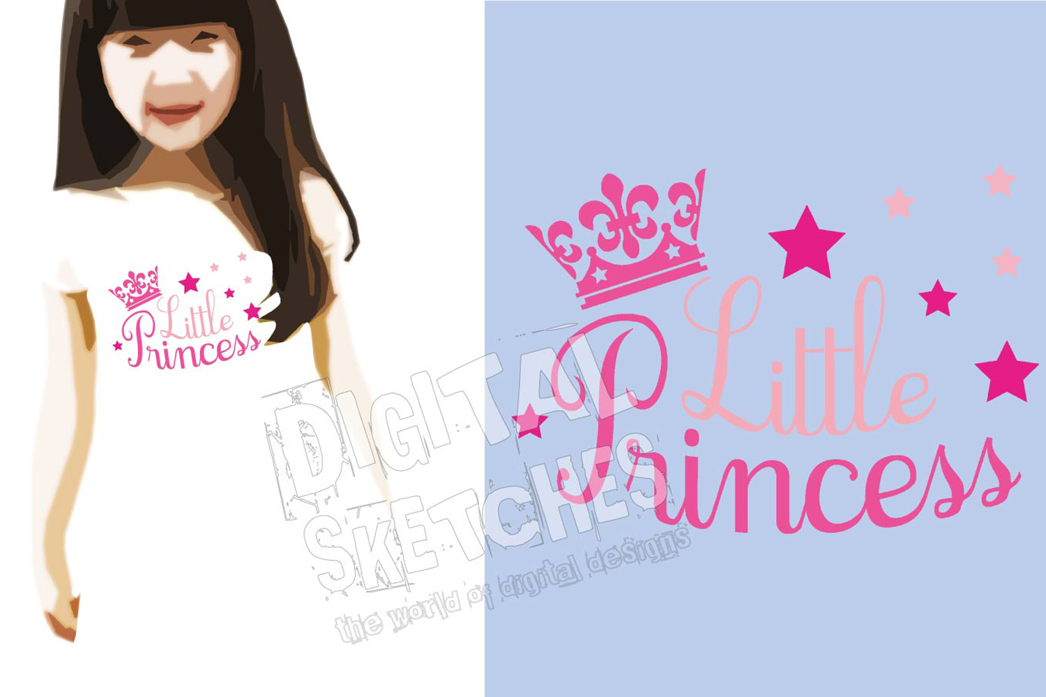Crown Little Princess Cut File Vector Graphics Illustration example image 3