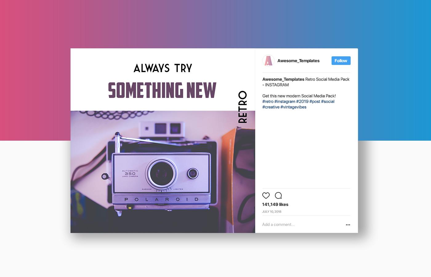 Retro Instagram Templates Pack example image 5