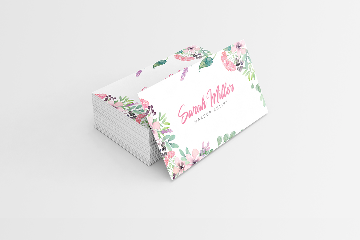Floral Minimalist Business Card Template example image 4