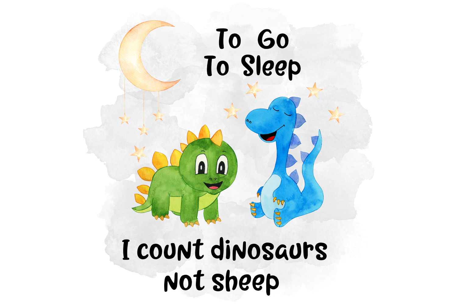 Count Dinosaurs Not Sheep, Watercolor Design example image 1