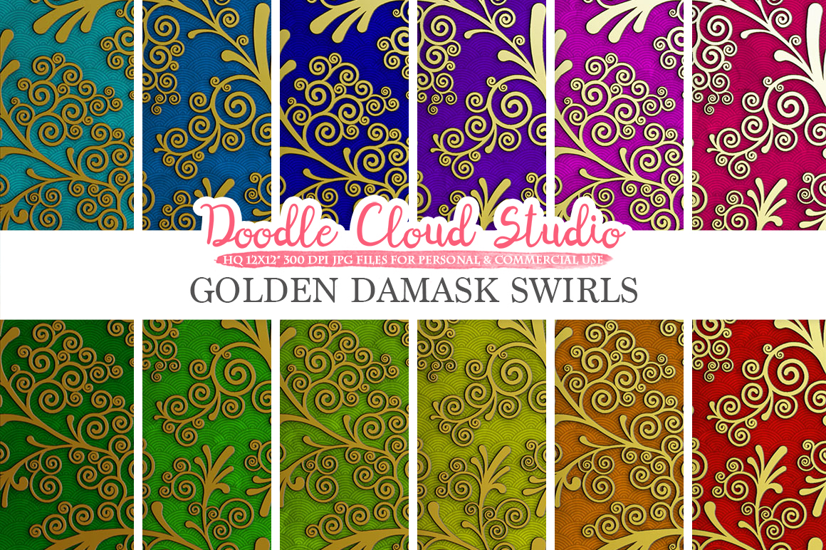 Golden Damask Swirls digital paper, Swirls pattern, Digital Swirls, colorful ombre background, Instant Download, Personal & Commercial Use example image 1