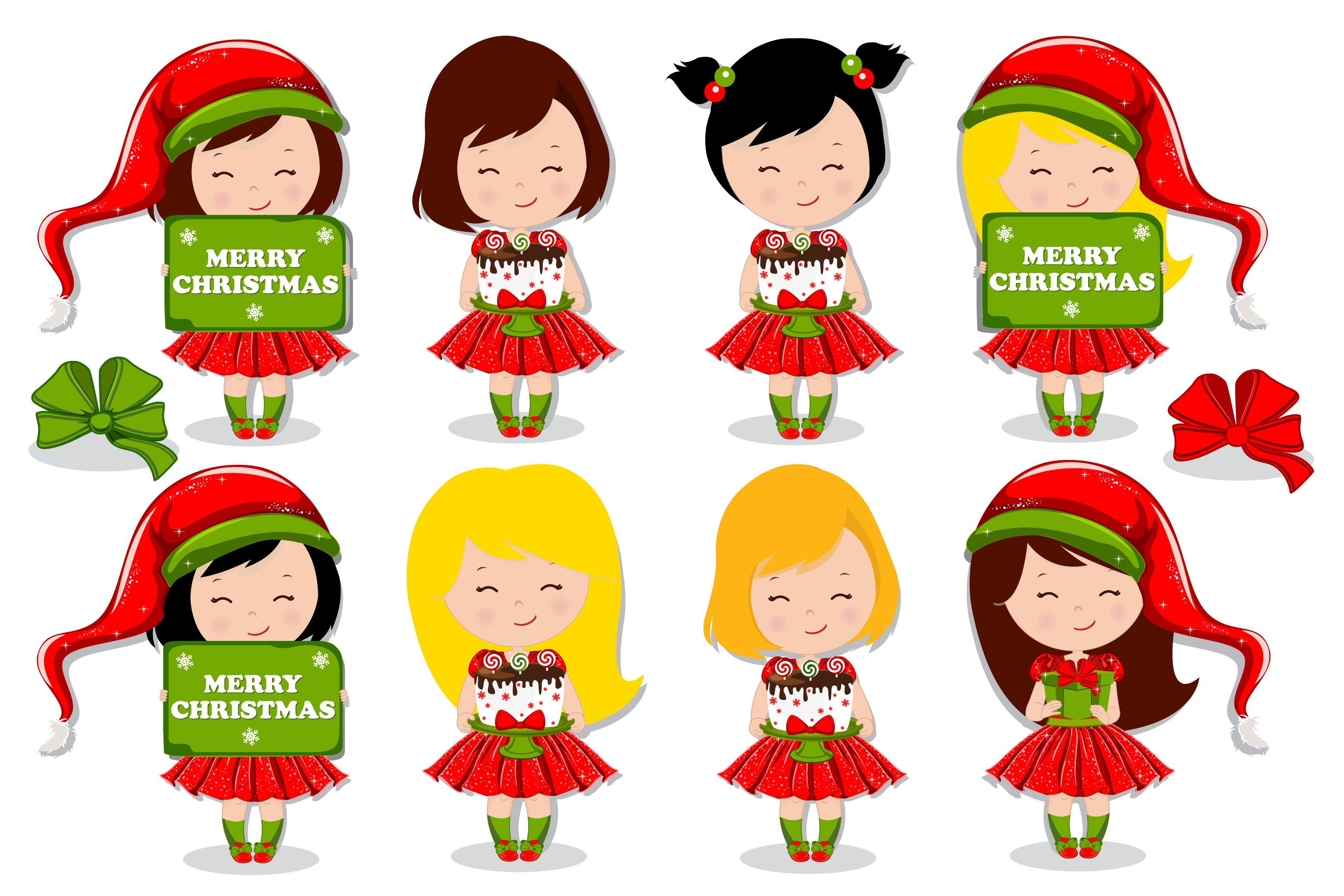 Christmas girl illustration, Christmas digital papers example image 4