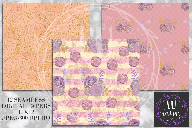 Floral Glitter Digital Paper Pack, Purple Floral Wedding Backgrounds example image 5
