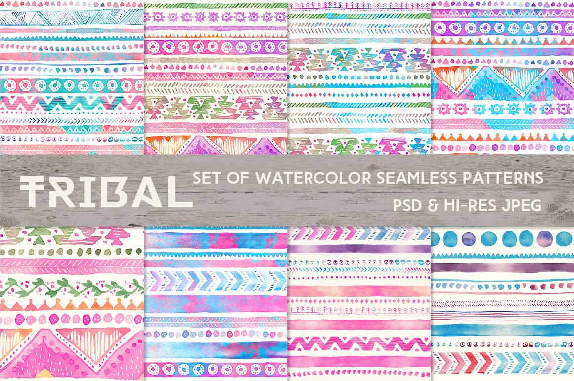 Tribal Watercolor Seamless Patterns example image 3