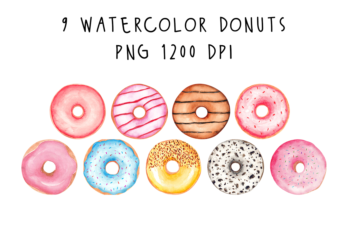 Hand painted Watercolor Donuts sweets desserts By shoko desi example image 2