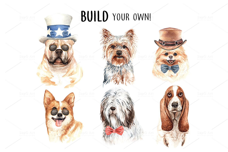 Dog watercolor. Pet clipart Set C example image 5